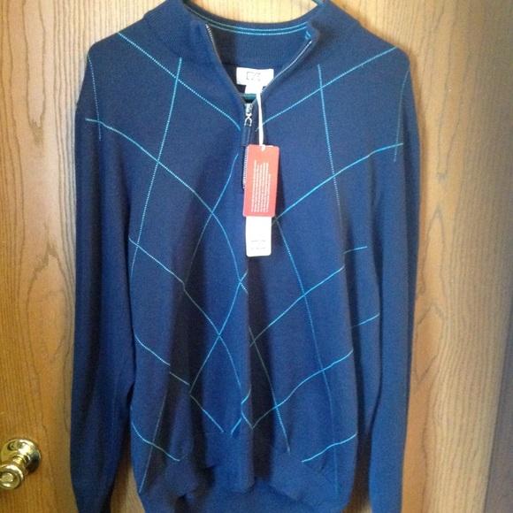 Cutter   Buck Men s LS 1 2 zip sweater argyle NWT fcadffdcd